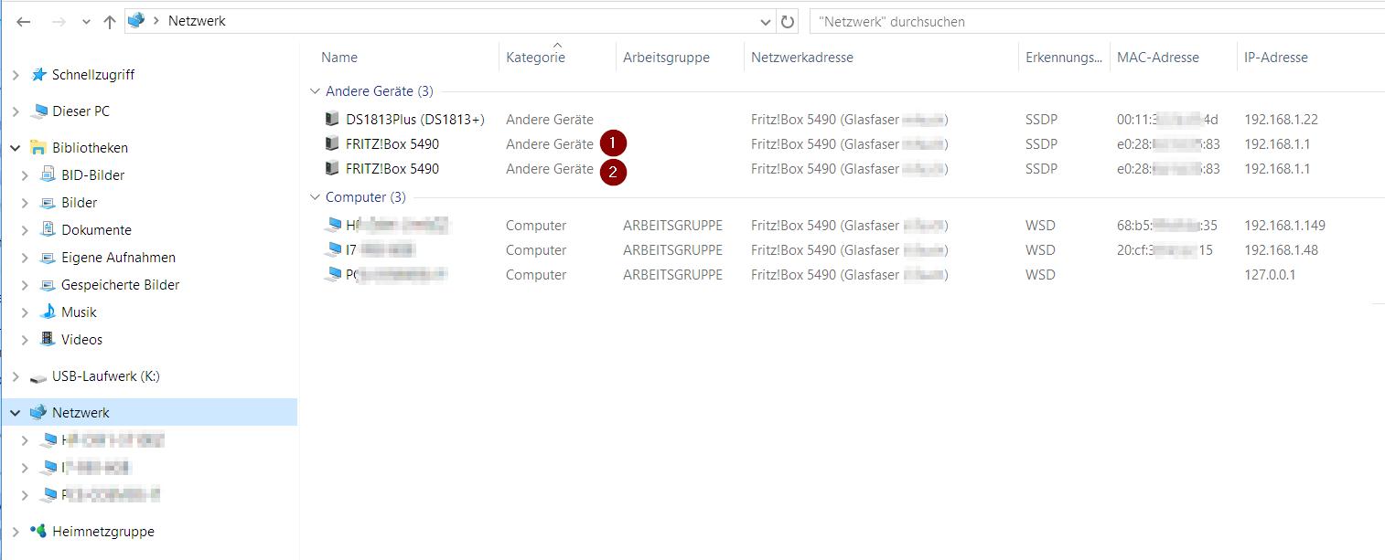 Windows 10: Warum erscheint FRITZ!Box 3 x unter Netzwerk